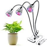 Three-Head LED Plant Lights 15W Plant Grow Light Red Blue Hydroponic Plant Growing Lamp with 360 Degree Flexible Gooseneck and Three Separate Control Switches for Indoor Greenhouse Hydroponics Garden Plants