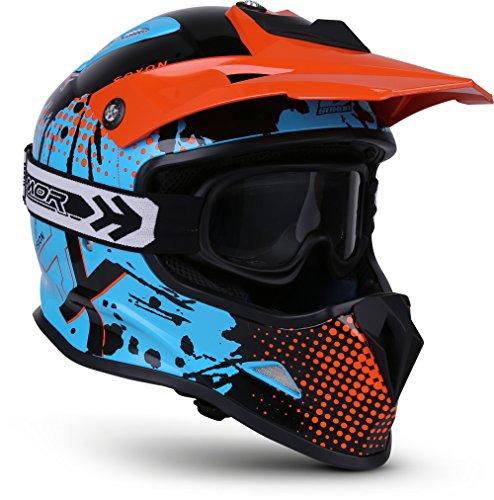 "SOXON® SKC-33 Set \""Fusion Orange\"" · Kinder-Cross-Helm · Motorrad-Helm MX Cross-Helm MTB BMX Quad · ECE Schnellverschluss SlimShell Tasche XS (51-52cm)"