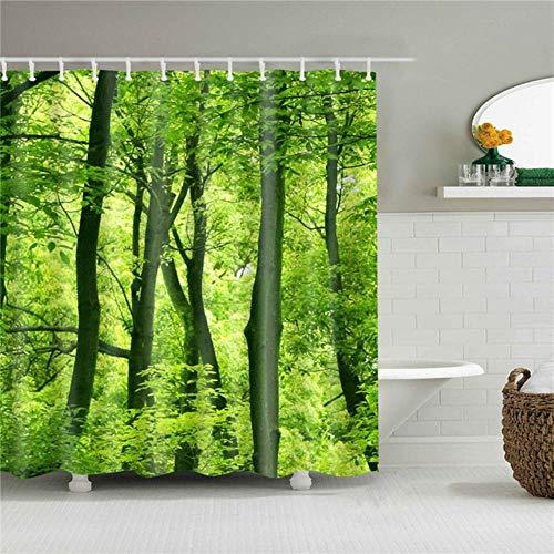 LLAAIT Forest Trees Impreso 3D Cortinas de baño Tela de poliéster Impermeable Lavable Baño Cortina de Ducha Pantalla con Ganchos Accesorios, 4,165x180cm