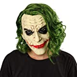 NUWIND Maschera Joker in Lattice con Capelli Verdi, Maschera da Clown Pieno Spaventoso per Adulti e Bambini, Accessorio Fantasy per Halloween, Cosplay, Travestimento