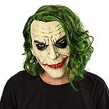 Nofonda Joker Maschera in Lattice con Capelli Verdi, Maschera Raccapricciante da Clown per Adulti e Bambini, Accessori Fantasia per Halloween, Natale, Cosplay, Costume