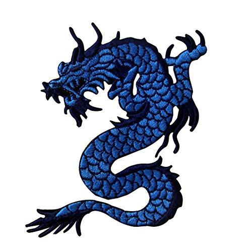 ZEGIN Toppa ricamata da applicare con ferro da stiro o cucitura, tema: Drago blu