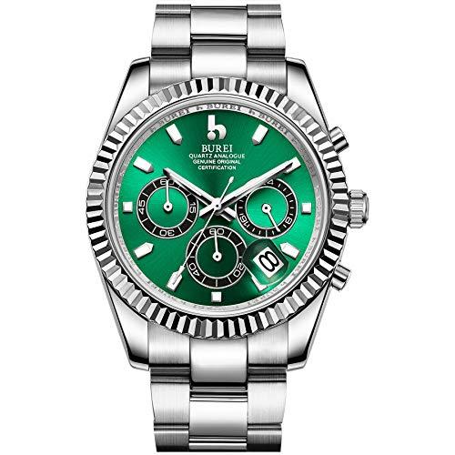 BUREI Orologio cronografo da uomo Quadrante analogico verde con datario Vetro zaffiro Lente Cassa e...