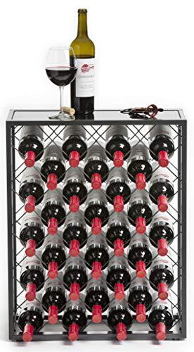 32 Bottiglie di Vino Rack con Vetro Tavolo, Peltro