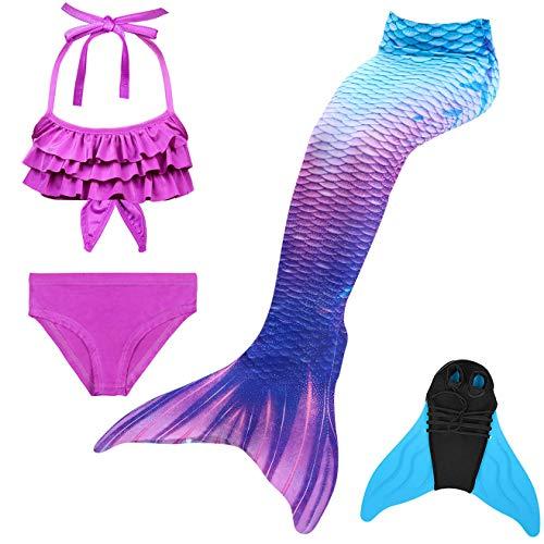 GNFUN Mädchen Meerjungfrauenschwanz Zum Schwimmen mit Meerjungfrau Flosse- Prinzessin Cosplay Bademode für das Schwimmen mit Bikini Set und Monoflosse, 4 Stück Set, Blau Lila, 140-150cm