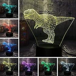 Nuevo Enfriar Tyrannosaurus Rex Jurassic World Dinosaur Animal 3D LED Lámpara de Escritorio RGB Luz de Noche USB Decoración Del Hogar Para Niños Regalo de Navidad
