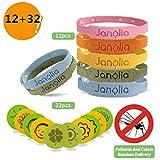 Janolia Repellenti di Zanzare, 12 Bracciale Antizanzare & 32 Adesivi Antizanzare, Set di Repellenti per Insetti, Regolabile per Bambini e Adulti