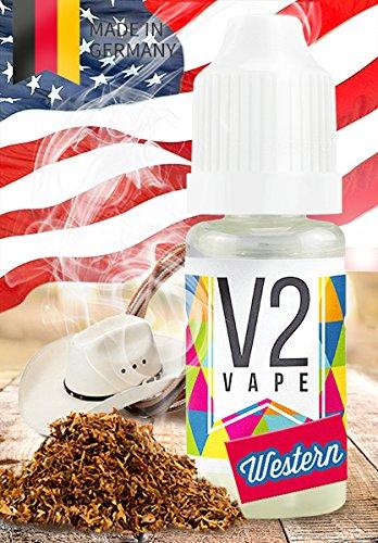 V2 Vape E-Liquid Western Tabak ohne Nikotin - Luxury Liquid für E-Zigarette und E-Shisha Made in Germany aus natürlichen Zutaten 10ml 0mg nikotinfrei
