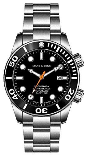 MARC & SONS  - Orologio subacqueo automatico 1000 m, vetro zaffiro, valvola dell'elio, lunetta in ceramica, operatore subacqueo automatico