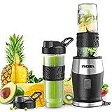 Mixer Smoothie Maker, Fochea Standmixer, 500 Watt Mini Smoothie Mixer, Multifunktion Smoothiemaker mit 2 Sport-Flasche BPA frei Tritan,570ml für Shakes und Smoothie