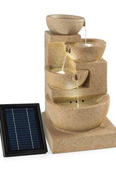 Blumfeldt Korinth Fuente de Agua Ornamental de jardín • Panel Solar para Bomba de Agua • 3W de Potencia instalación • 4 Platos para Cascada • Diseño Antiguo