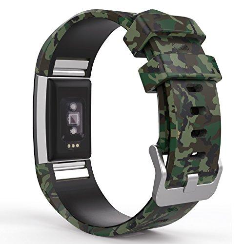 MoKo Fitbit Charge 2 Cinturino, Braccialetto Morbido Sportivo di Ricambio in Silicone per Fitbit Charge 2 Smartwatch Fitness con Battito Cardiaco, Tuta Mimetica Scura