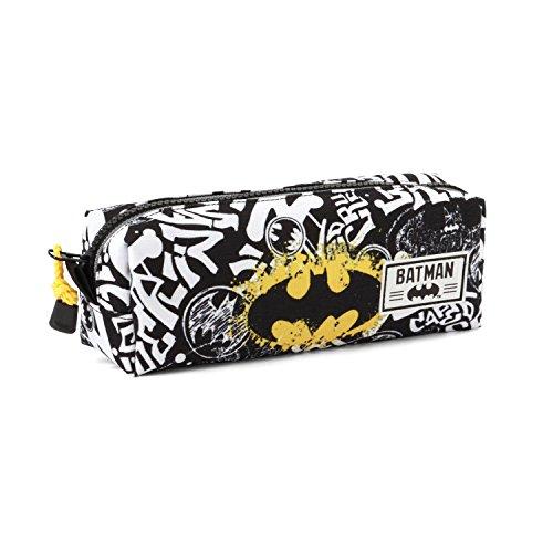 Batman Tagsignal-Quadrat Federmäppchen Astuccio, Grigio, poliestere