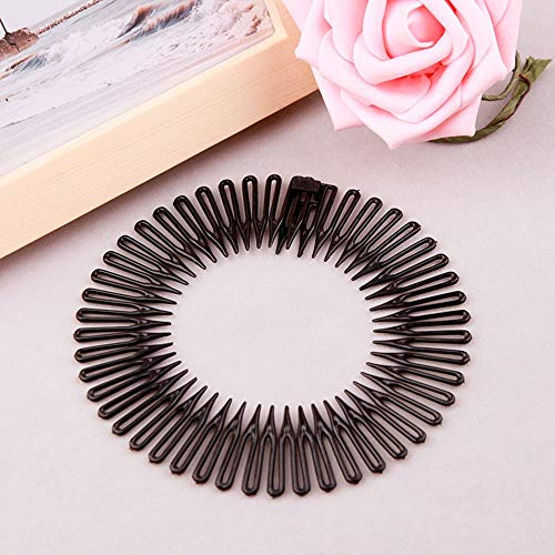 HITSAN INCORPORATION 1PC Plastic Full Circle Stretch Diamond Flexible Comb Teeth Headband Hair Band Clip Face Wash Fixed Hair Accessories Beauty Tool 1 black
