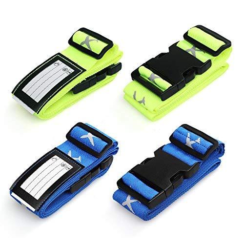 Correas para equipaje Swify 4 piezas ajustables de equipaje de viaje cinturones portaequipajes maletín cinturones bolsos de mano accesorios de embalaje con ranura para etiquetas de identificación