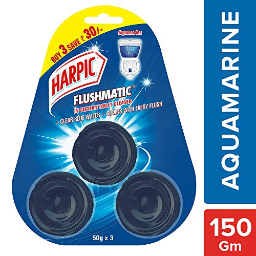 Harpic Flushmatic Toilet In Cistern Block - 50 g (Pack of 3, Aquamarine, Blue)