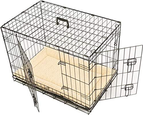Maxx - Gabbia per cane con 2 porte d'ingresso, pieghevole e trasportabile, con maniglia e vassoio