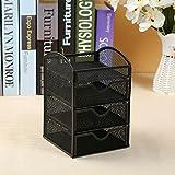 L&LQ Ferro battuto maglia tre pompaggio armadi scatola di immagazzinaggio desktop da ufficio di storage modulare per ufficio , black