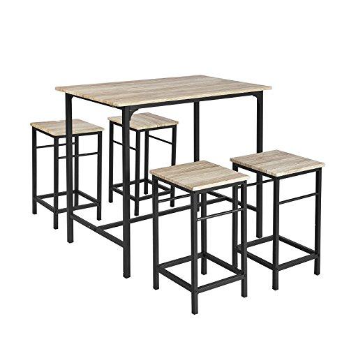 SoBuy Set 5 pezzi Tavolo con 4 sgabelli, Set di mobili da balcone,OGT11-N,IT