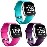 HUMENN Bracelet pour Fitbit Versa/Fitbit Versa 2, Bande en TPU Silicone Souple de Remplacement Ajustable Sport Accessorie pour Fitbit Versa Montre Wristband Grand Turquoise+Rose+Prune