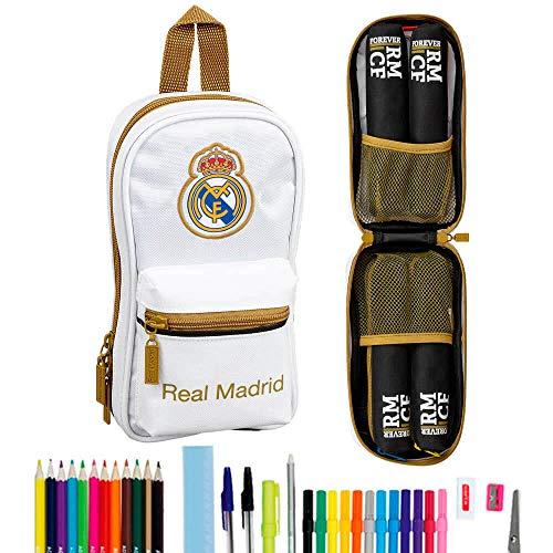Real Madrid CF - Astuccio con 4 astucci, 33 pezzi, per la scuola
