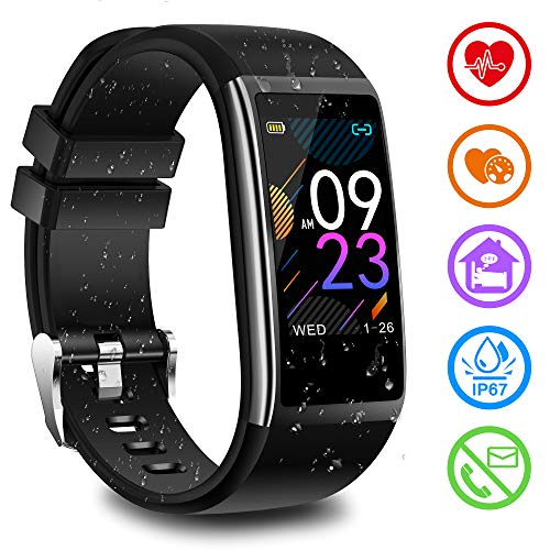Fitness Armband mit Pulsmesser Blutdruckmessung Fitness Uhr Wasserdicht IP67 Fitness Tracker mit Pulsuhren Aktivitätstracker Schlafmonitor Schrittzähler Kalorienzähler Smart Armband uhr Herren Damen