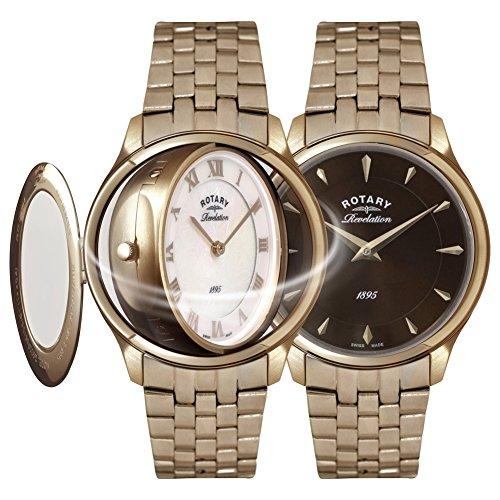 Rotary Damen-Armbanduhr Revelation Analog Quarz Edelstahl beschichtet LB02974/25/41