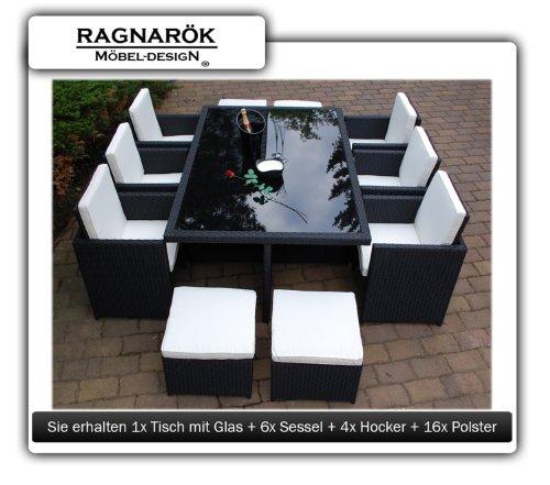 Gartenmöbel PolyRattan Essgruppe Tisch mit 6 Stühlen & 4 Hocker DEUTSCHE MARKE — EIGNENE PRODUKTION Garten Möbel incl. Glas und Sitzkissen Ragnarök-Möbeldesign - 3
