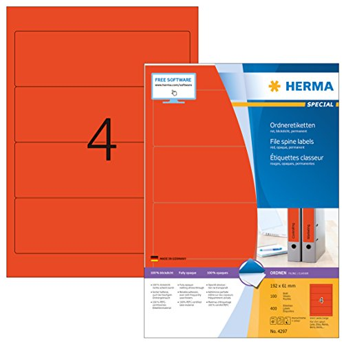 Herma 4297 Farbige Ordnerrücken Etiketten rot, blickdicht, breit/kurz (192 x 61 mm) 400 Ordneretiketten, 100 Blatt DIN A4 Papier matt, bedruckbar, selbstklebend