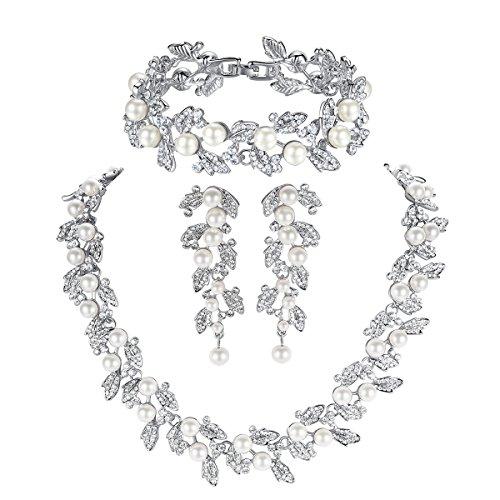 Mecresh Set di gioielli da donna, ideale per spose o damigelle, con foglie, perle e cristalli (1paio orecchini,1collana e 1 braccialetto)