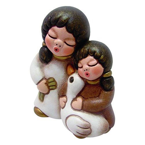 THUN - Bambine con Oca - Versione Bianca - Statuine Presepe Classico - Ceramica - I Classici