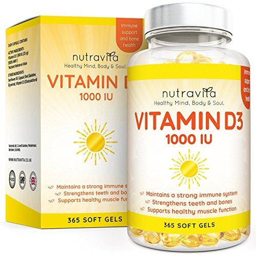 Vitamina D3 1000 IU - 365 Gel Capsula - Fornitura Per Un Anno | Integratore In Pillole Di Vitamina D Colecalciferolo Mantiene Normale Ossa, Denti, e Articolazioni Muscoli | Prodotto Da Nutravita