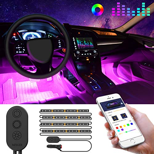 Striscia LED Auto con APP, Minger LED Auto Interni 48 LEDs, Musica Attivata dal Microfono + Vari...