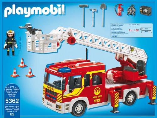PLAYMOBIL 5362 – Feuerwehr-Leiterfahrzeug mit Licht und Sound - 3