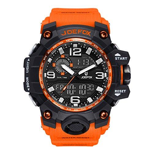 Reloj de Pulsera Digital para Hombre, analógico Deportivo Militar, cronógrafo Digital, Correa de Resina LED Resistente al Agua 56 mm, Color Naranja