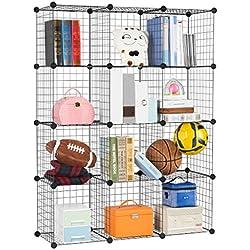 LANGRIA Bücherregal 12 Kubus Offen Draht Stufenregal Regalsystem Schuhregal Wohnzimmer Schrank für Bücher, Kleidung, Spielzeug und Schuhe [Zurück zur Schule]
