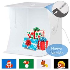 Amzdeal Caja de Luz 40x40cm,Caja de Fotografía Portátil con Soporte Firme para Estudio Fotográfico con 4 Fondos Blanco/Negro/Azul/Verde (Versión Mejorada)