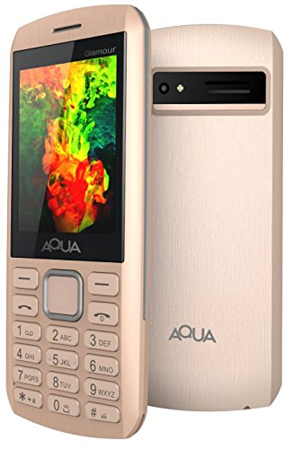Aqua Glamour - Gorgeous Dual SIM Basic Keypad Mobile Phone with Auto Call Recording Feature - Gold