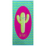 Toallas Decoradas Multicolor Con Cactus Gigante