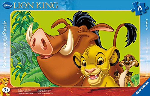 Ravensburger - 06008 5 -Puzzle Incorniciato 15 Pezzi Re Leone Disney