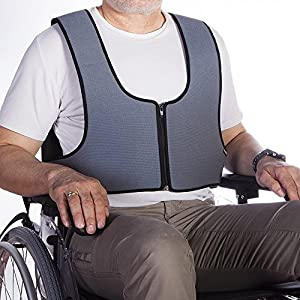 Mobiclinic Arnés Chaleco de sujeción con Cremallera Tipo Peto   para Silla de Ruedas, sillas, sillones de Descanso   para Personas con inestabilidad   Talla 2 (79-168 cm)