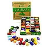 Crayon Rocks - Crayones Soya no tóxicos para niños [estimulante el mango de lápiz] - (64) tiza duradera en caja de papel kraft - 16 o 32 colores - dibujo sobre papel y tela - '' Just Rocks '' (32 colores - 32 Lapices)