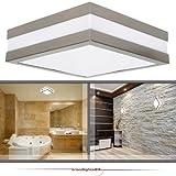 Wandleuchte Deckenleuchte SAVONA eckig / quadratisch IP44 LED E27; 230V Set inkl. 2x 14W LED (je 1250 Lumen); für Wohnraum, Bad, Flur, Wand, Decke; für bis zu 2x18 Watt