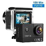 Action Cam Full HD 1080P, 16MP, 1350mAh Batteria Ricaricabile, 170 º Grandangolare, 2.0 Pollici LCD Action Camera Sport con 30M Custodia Impermeabile, 180 Minuti Tempo di Ripresa-Nero