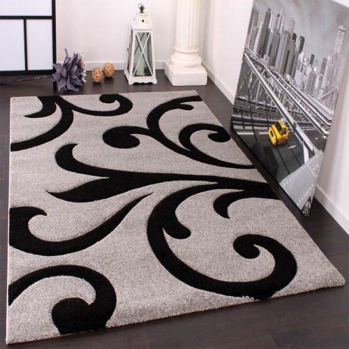 Paco Home Tappeto Di Design Orlo Lavorato Moderno Ondulato Nei Colori Grigio Nero, Dimensione:80x150...