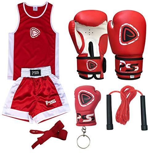Completo da boxe per bambino set 2 pezzi pantaloncini e maglietta rosso taglia 7-8 anni + guanti da...