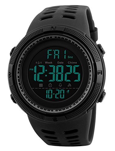 Orologio digitale da Polso - uomo sportivo militare impermeabile cronografo orologi conto alla rovescia, luci LED gomma nero Big viso orologi da polso con allarme per uomini