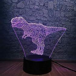 Lámpara 3D Animal Dinosaur Tyrannos Cute Jurassic Park 7 colores Cambio de luz nocturna RGB Iluminación Dormitorio al lado de Luminaria Decorativo, control remoto