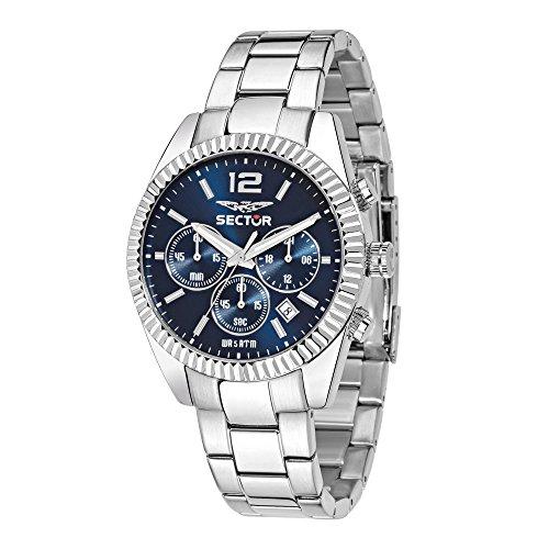 Sector Herren Chronograph Quarz Smart Watch Armbanduhr mit Edelstahl Armband R3273676004
