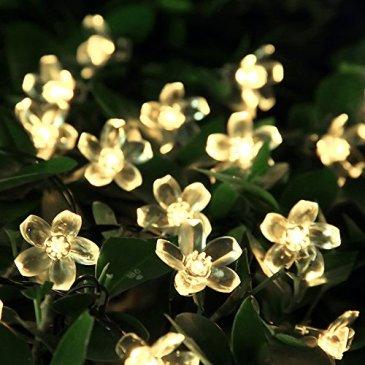 Guirlande Lumineuse Solaire, Lumière de fée 50 LED Étanche 5M Blossom éclairage Luminaires Extérieur Imperméable Noël   pour Intérieur, Jardin, mariage, terrasse, fête et décoration de vacances